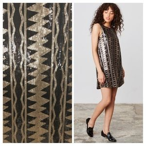 Anthro Jack BB Dakota Sequin Shift Dress sz S